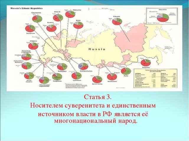 Статья 3. Носителем суверенитета и единственным источником власти в РФ я...