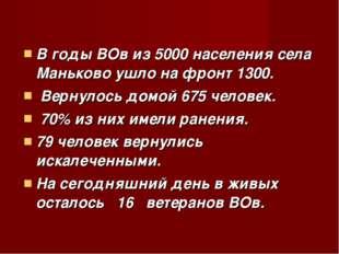 В годы ВОв из 5000 населения села Маньково ушло на фронт 1300. Вернулось дом