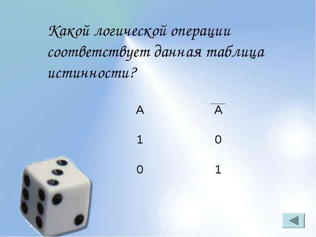 Какой логической операции соответствует данная таблица истинности? АА 10 01