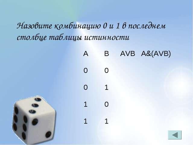 Назовите комбинацию 0 и 1 в последнем столбце таблицы истинности ABAVBA&(A...
