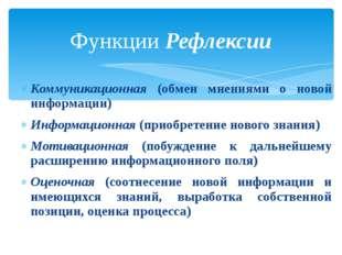 Коммуникационная (обмен мнениями о новой информации) Информационная (приобрет