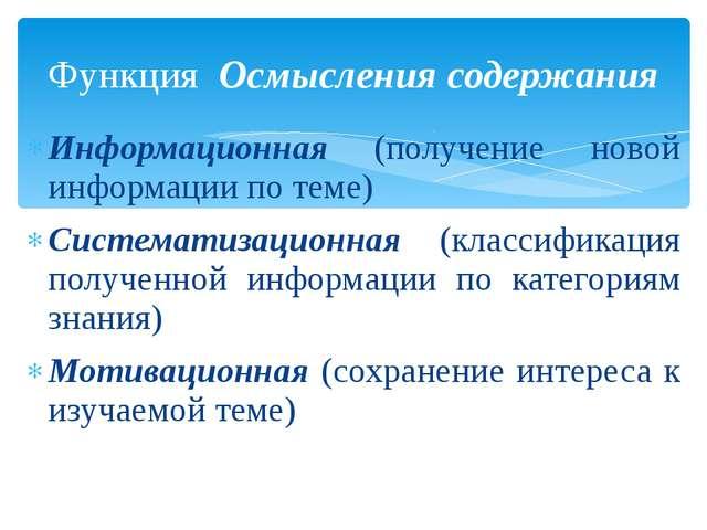 Информационная (получение новой информации по теме) Систематизационная (класс...