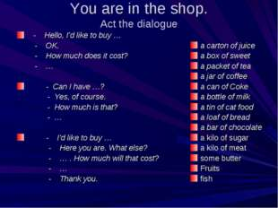 You are in the shop. Act the dialogue