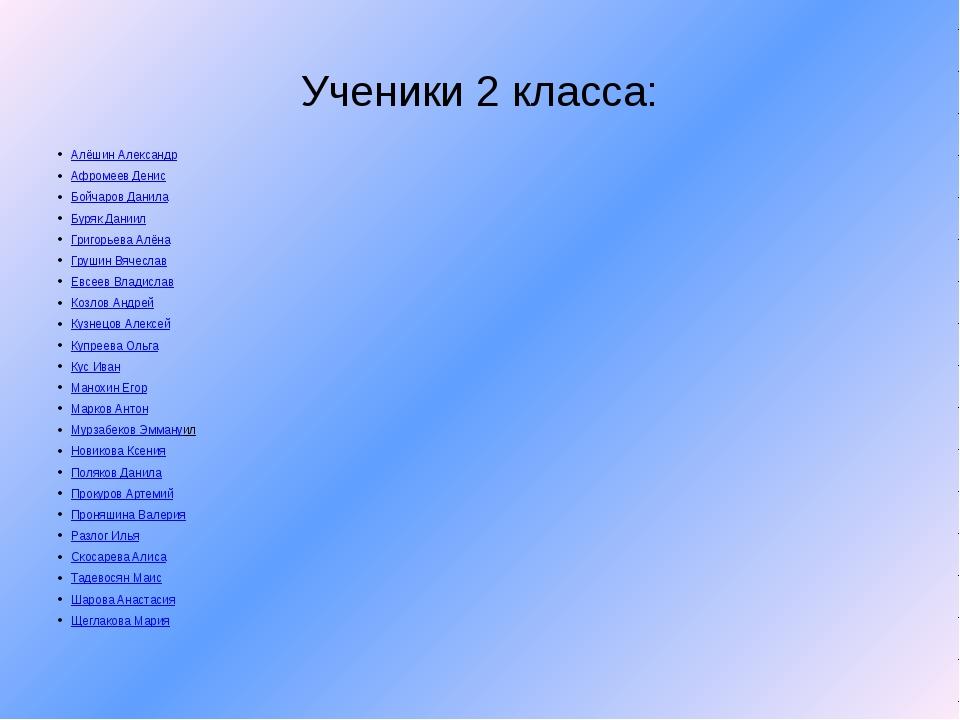 Ученики 2 класса: Алёшин Александр Афромеев Денис Бойчаров Данила Буряк Дании...