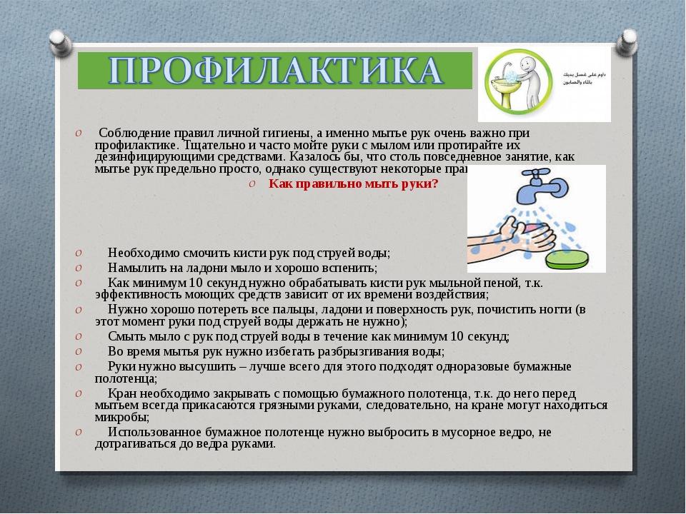 Соблюдение правил личной гигиены, а именно мытье рук очень важно при профила...