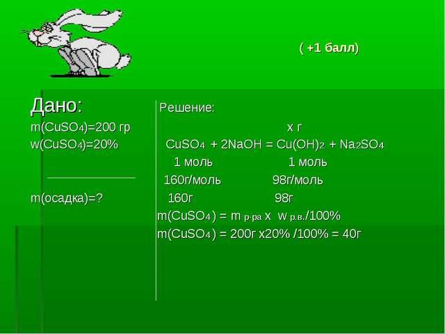 ( +1 балл) Дано: Решение: m(CuSO4)=200 гр х г w(CuSO4)=20% CuSO4 + 2NaOH = C...