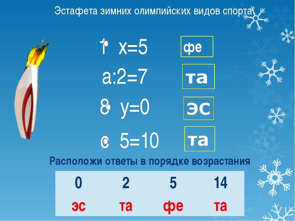 1 х=5 а:2=7 8 у=0 с 5=10 фе Эстафета зимних олимпийских видов спорта Располож...