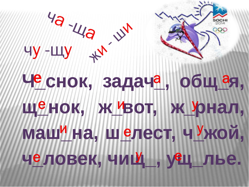 Ч_снок, задач_, общ_я, щ_нок, ж_вот, ж_рнал, маш_на, ш_лест, ч_жой, ч_ловек,...