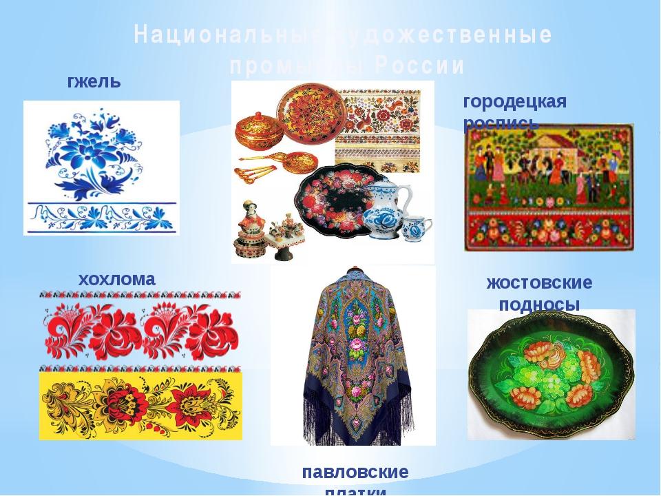 Национальные художественные промыслы России гжель хохлома павловские платки ж...