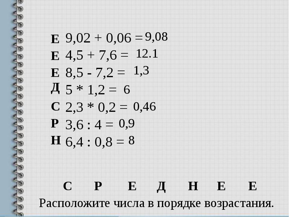 9,02 + 0,06 = 4,5 + 7,6 = 8,5 - 7,2 = 5 * 1,2 = 2,3 * 0,2 = 3,6 : 4 = 6,4 : 0...