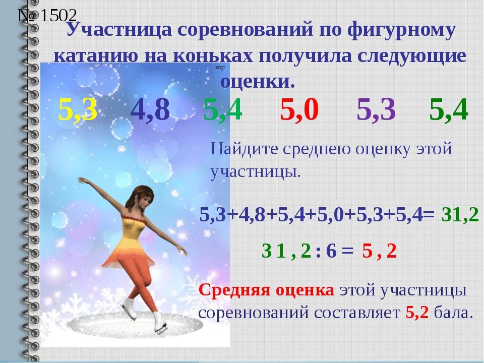 Участница соревнований по фигурному катанию на коньках получила следующие оце...