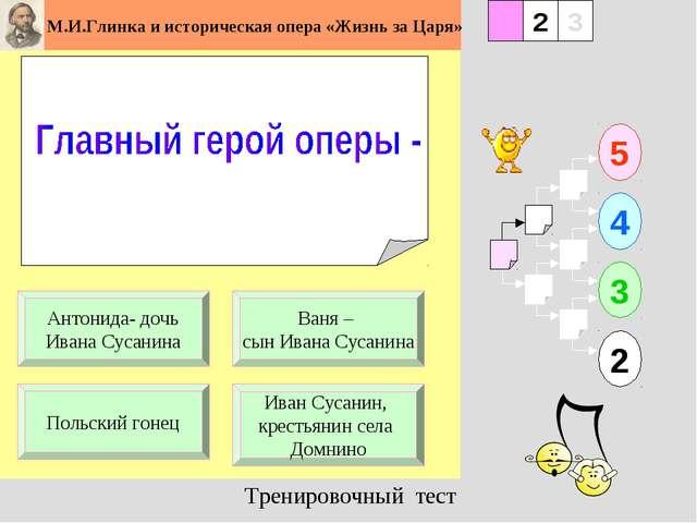 1 Польский гонец Иван Сусанин, крестьянин села Домнино 5 2 3 4 2 3 Ваня – сын...