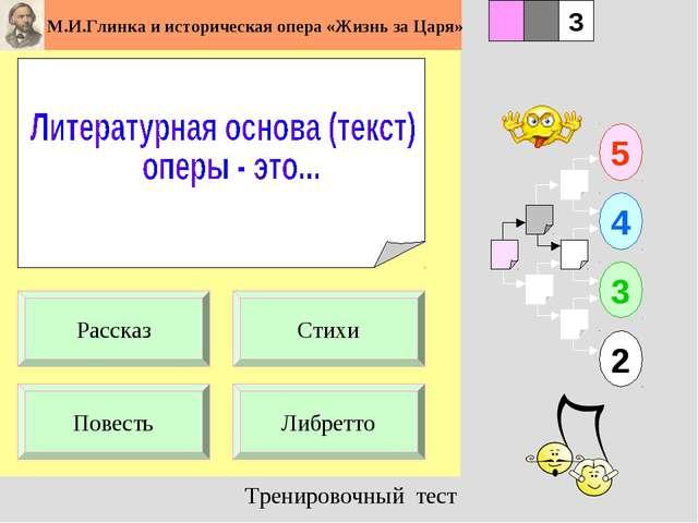 1 Повесть Либретто 5 2 3 4 2 3 Стихи Рассказ Тренировочный тест