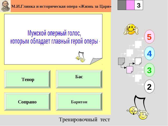 1 Сопрано Баритон 5 2 3 4 2 3 Бас Тенор Тренировочный тест