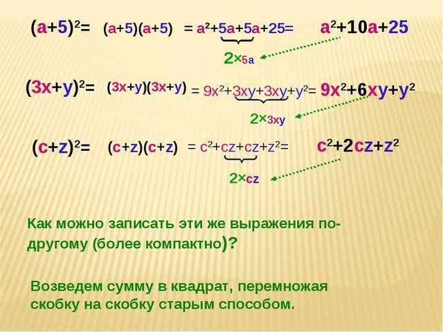 (a+5)2= (3x+y)2= (c+z)2= Как можно записать эти же выражения по-другому (боле...