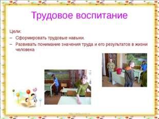 http://aida.ucoz.ru Трудовое воспитание Цели: Сформировать трудовые навыки. Р