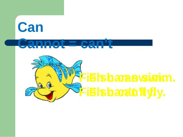 Can Cannot = can't Fish can swim. Fish can't fly. Fish can swim. Fish can't f...