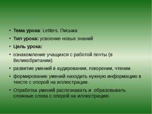 Тема урока: Letters. Письма Тип урока: усвоение новых знаний Цель урока: озн