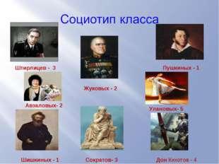 Штирлицев - 3 Жуковых - 2 Пушкиных - 1 Шишкиных - 1 Сократов- 3 Авзаловых- 2
