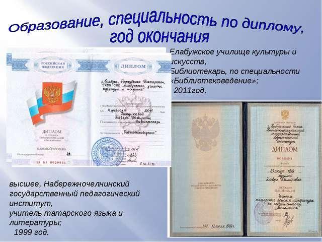 в высшее, Набережночелнинский государственный педагогический институт, учител...