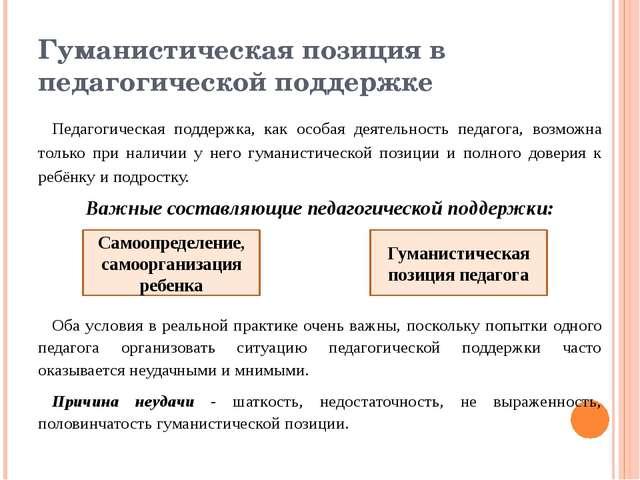 Гуманистическая позиция в педагогической поддержке Педагогическая поддержка,...