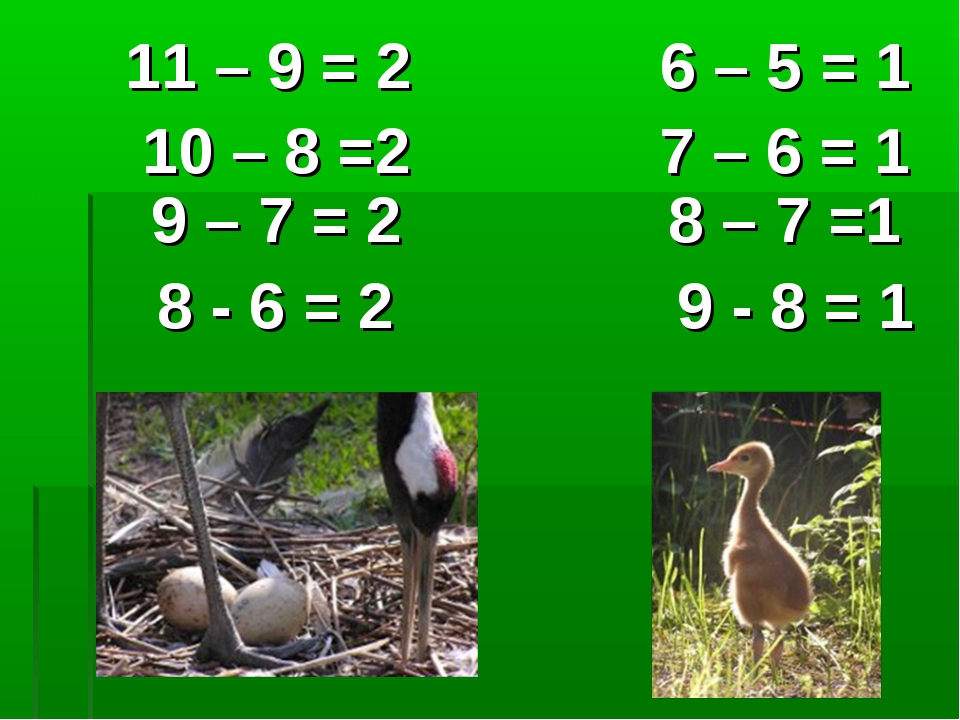11 – 9 = 2 6 – 5 = 1 10 – 8 =2 7 – 6 = 1 9 – 7 = 2 8 – 7 =1 8 - 6 = 2 9 - 8...