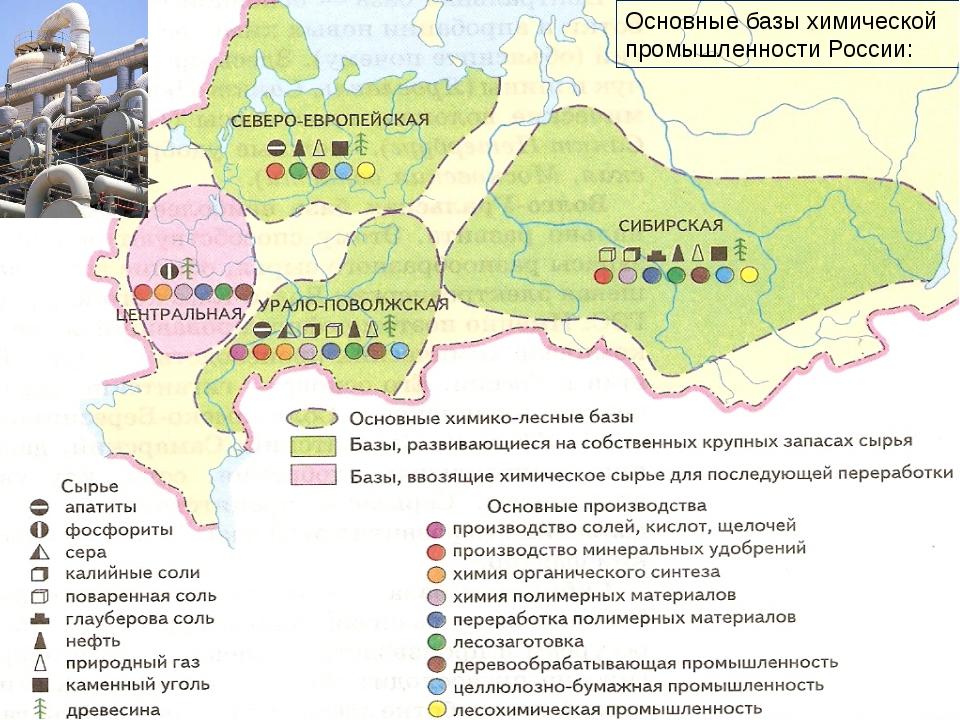 Основные базы химической промышленности России: