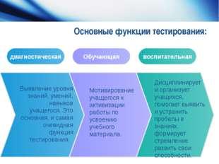 Основные функции тестирования: Выявление уровня знаний, умений, навыков учаще