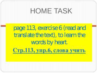 HOME TASK page 113, exercise 6 (read and translate the text), to learn the wo