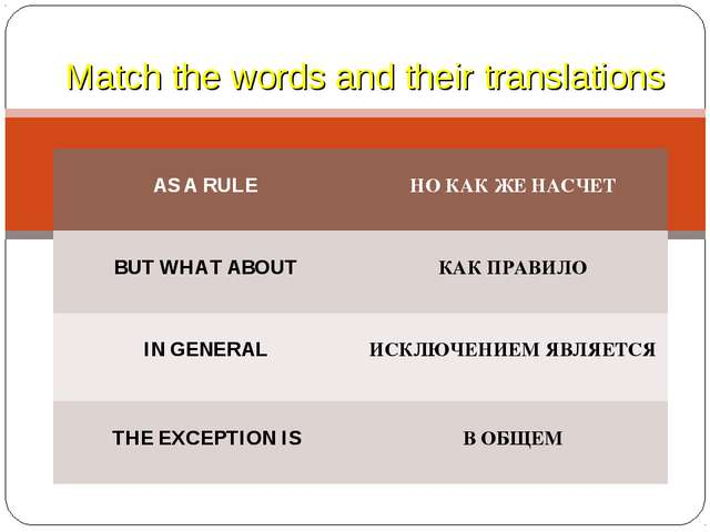 Match the words and their translations AS A RULE НО КАК ЖЕ НАСЧЕТ BUT WHAT A...