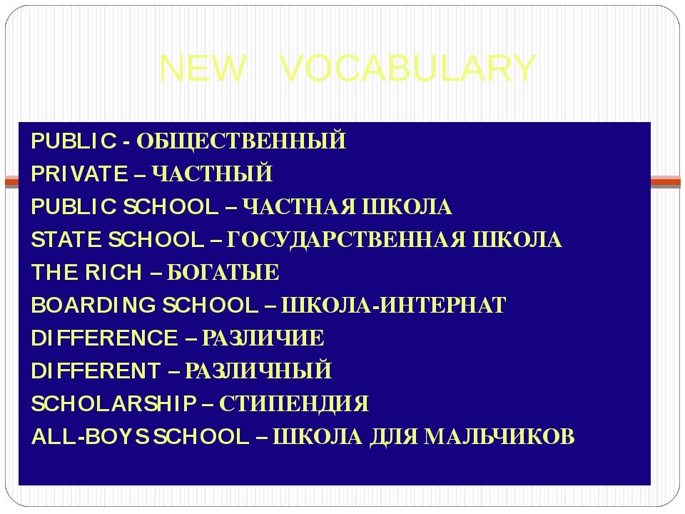 NEW VOCABULARY PUBLIC - ОБЩЕСТВЕННЫЙ PRIVATE – ЧАСТНЫЙ PUBLIC SCHOOL – ЧАСТНА...