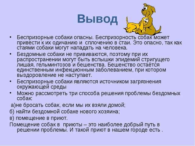 Вывод Беспризорные собаки опасны. Беспризорность собак может привести к их од...