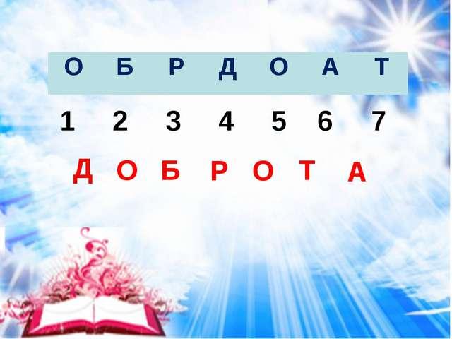 1 2 3 4 5 6 7 Д О Б Р О Т А ОБРДОАТ
