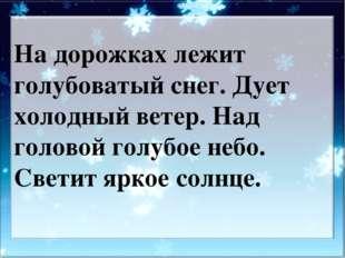 На дорожках лежит голубоватый снег. Дует холодный ветер. Над головой голубое
