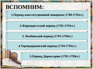 ВСПОМНИМ: 1.Период конституционной монархии (1789-1792гг.) 2.Жирондистский пе