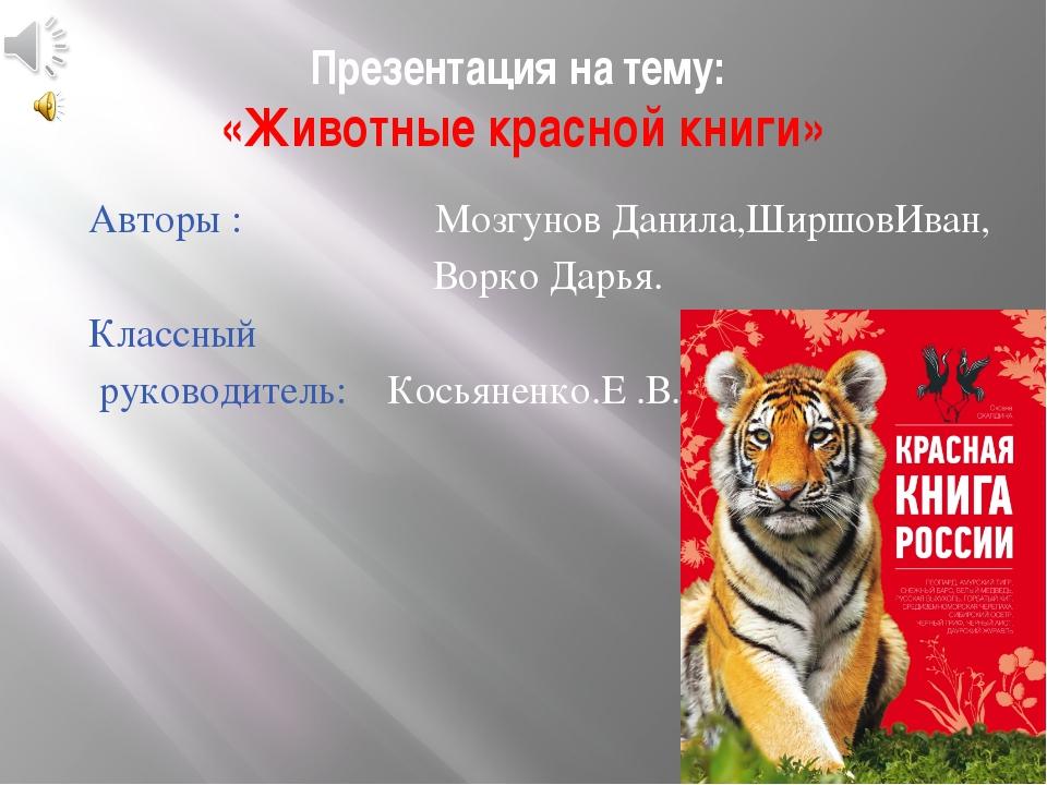 Презентация на тему: «Животные красной книги» Авторы : Мозгунов Данила,Ширшов...