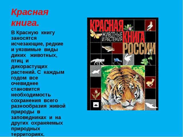 Красная книга. В Красную книгу заносятся исчезающие, редкие и уязвимые виды д...