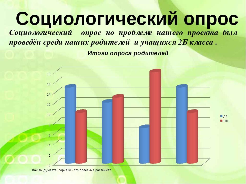 Социологический опрос по проблеме нашего проекта был проведён среди наших род...