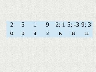 2 5 1 9 2; 1 5; -3 9; 3 о р а з к и п