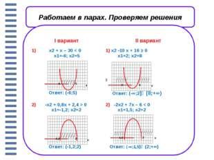Самостоятельная работа.(на оценку) Iвариант IIвариант 1)x2-5x – 36< 0 1)x2+