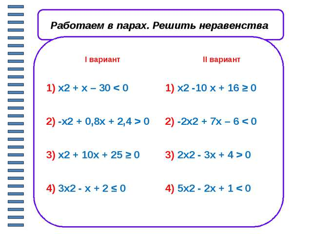 Работаем в парах. Проверяем решения х х х х Iвариант IIвариант 3)x2+ 10x + 2...