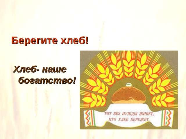 Берегите хлеб! Хлеб- наше богатство!