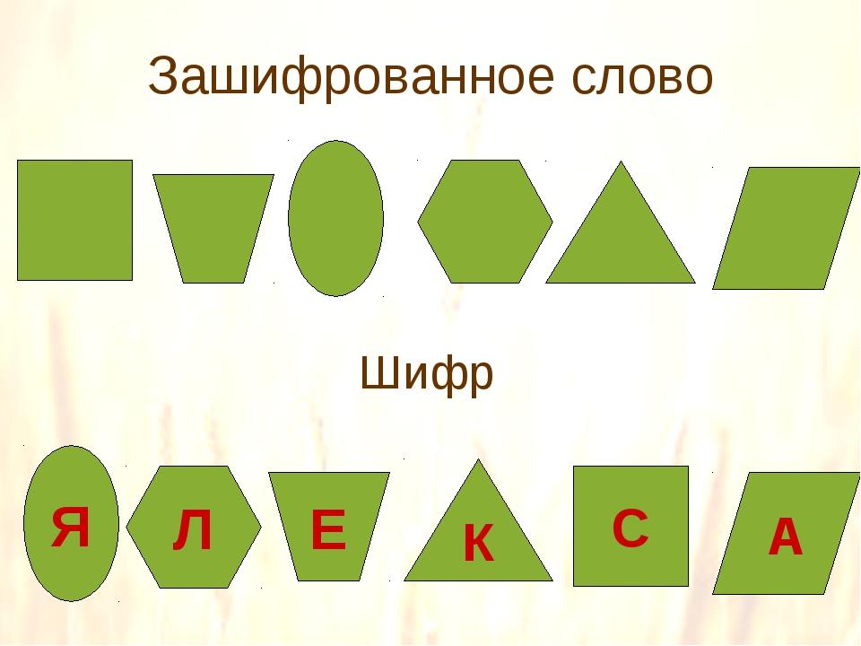 Зашифрованное слово Шифр Я Л Е К С А