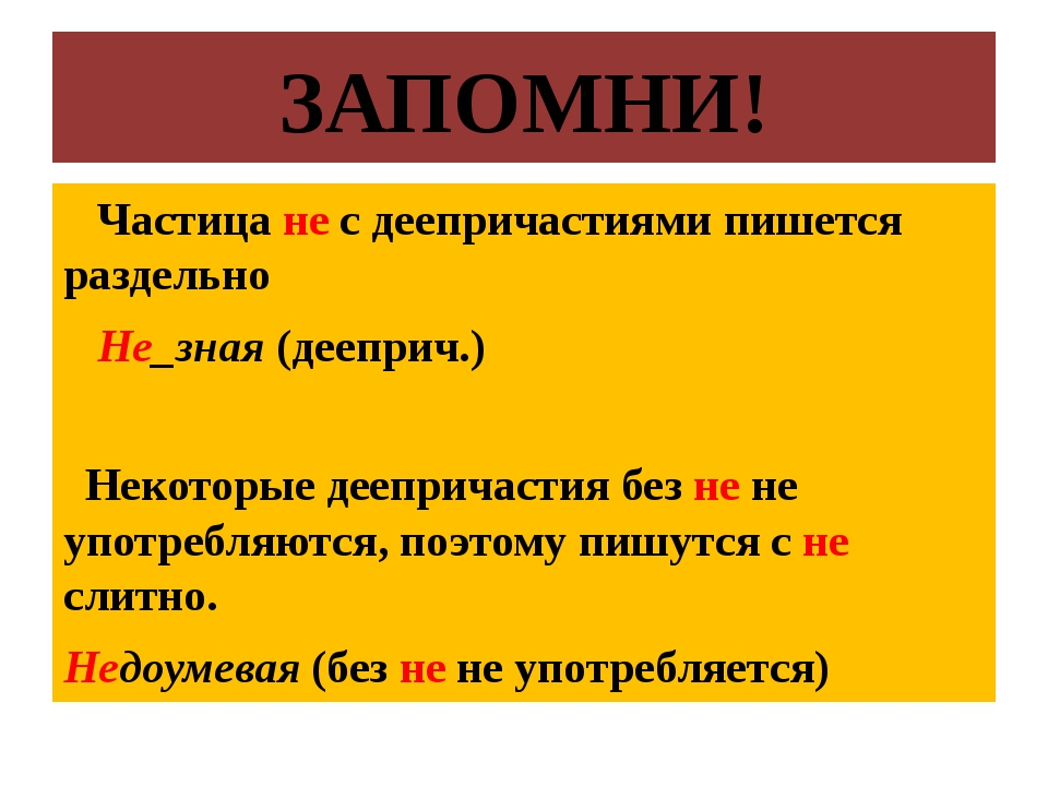 ЗАПОМНИ! Частица не с деепричастиями пишется раздельно Не_зная (дееприч.) Нек...