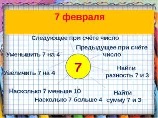 7 Следующее при счёте число Уменьшить 7 на 4 Насколько 7 меньше 10 Насколько