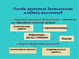 Основы проектной деятельности младших школьников Информация: доклад, сообщени