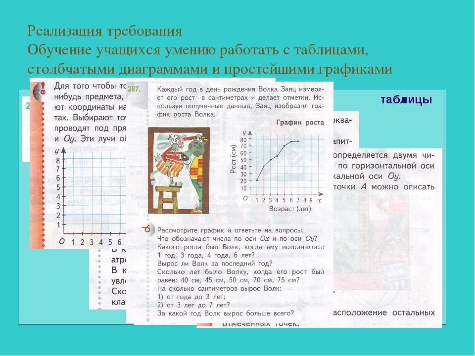 Реализация требования Обучение учащихся умению работать с таблицами, столбчат...