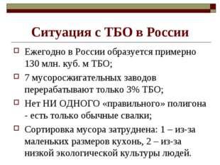 Ситуация с ТБО в России Ежегодно в России образуется примерно 130 млн. куб. м