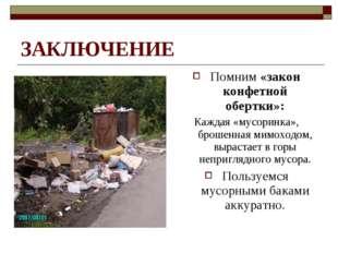 ЗАКЛЮЧЕНИЕ Помним «закон конфетной обертки»: Каждая «мусоринка», брошенная ми