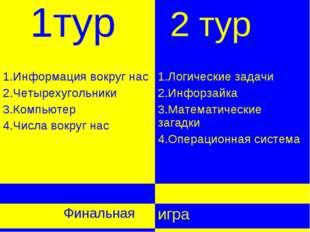 2 тур 1тур 1.Информация вокруг нас 2.Четырехугольники 3.Компьютер 4.Числа во